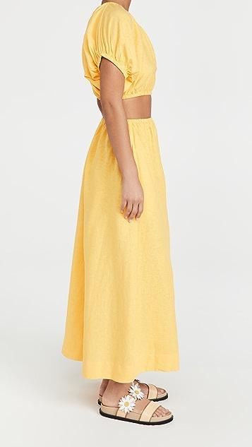 FARM Rio Yellow Open Waist Dress