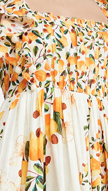 FARM Rio Off White Cashew Crossed Back Dress