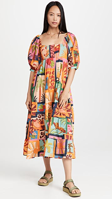 Farm Rio 热带拼贴中长连衣裙