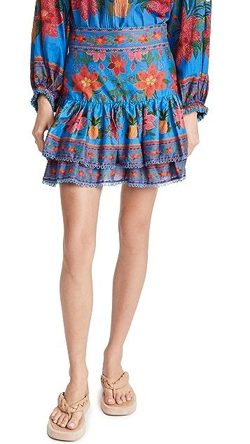 Farm Rio 蓝色热带风格织锦迷你半身裙