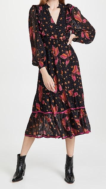 FARM Rio Black Macaws Maxi Dress