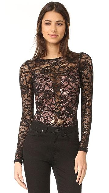 Fleur du Mal Chat Noir Lace Long Sleeve Bodysuit