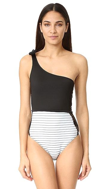 e33ddce0172b1 ... Fleur du Mal Lace Insert Suspender Swimsuit ...