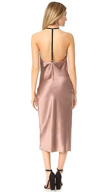 Fleur du Mal Cowl Neck Bias Slip Dress