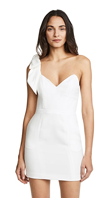 Fleur du Mal One Shoulder Tie Short Dress
