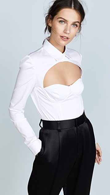 Fleur du Mal Shirt Cutout Bodysuit