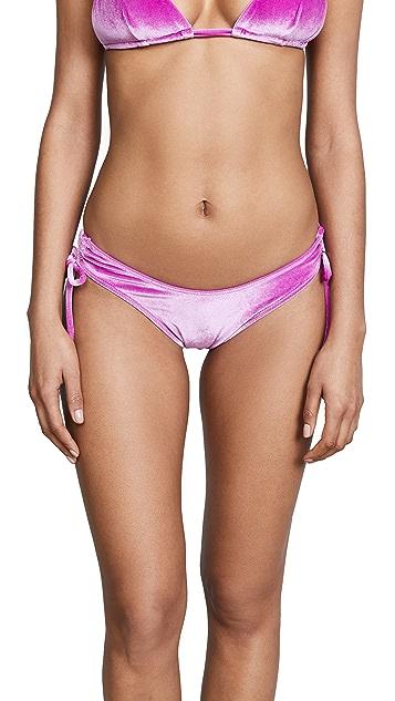 Fleur du Mal Velvet High Leg Bikini Bottoms