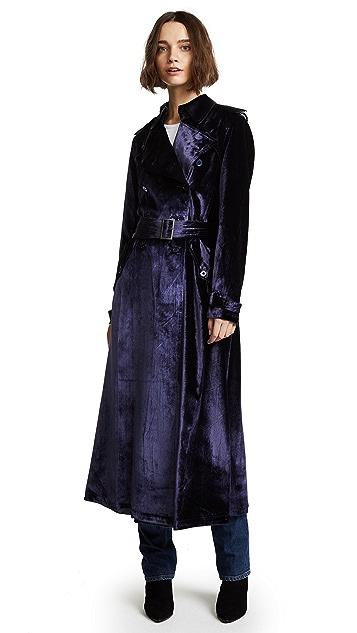 Fleur du Mal Velvet Trench Coat Robe