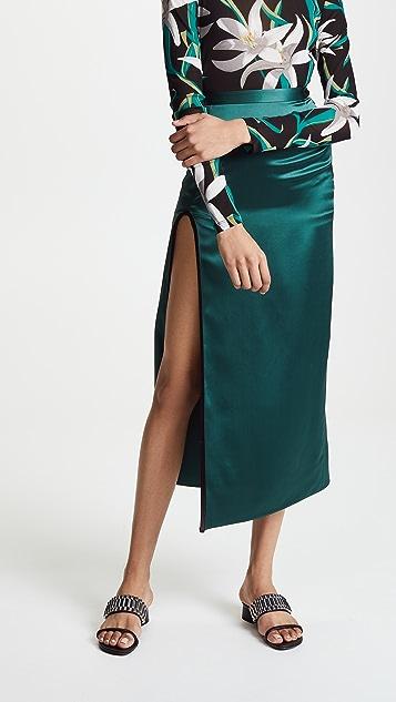 Fleur du Mal Skirt with High Slit - Evergreen