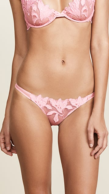 Fleur du Mal Lily Lace Cheeky Panties - Pink Lady