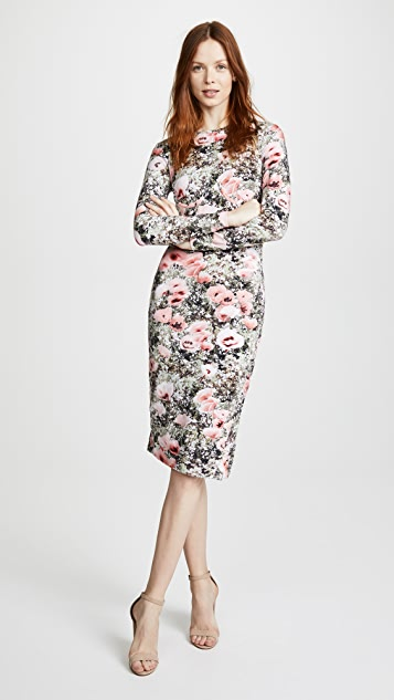 Fleur du Mal Printed Knit Dress with Side Snaps