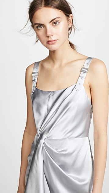 Fleur du Mal Asymmetrical Cascade Slip Dress