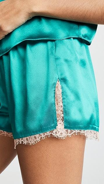 Fleur du Mal Короткие шорты с кружевной отделкой