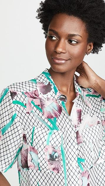 Fleur du Mal Cropped Silky Work Shirt