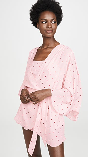 Fleur du Mal Dot Embroidered Angel Sleeve Robe