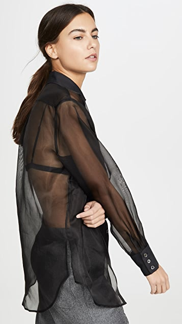 Fleur du Mal Bib Shirt with Organza Body
