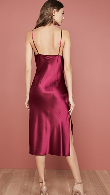 Fleur du Mal Cowl Neck Slip Dress With Slit