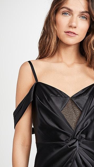 Fleur du Mal Silk & Mesh Draped Slip Dress