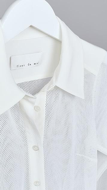 Fleur du Mal Silk & Mesh Sheer Paneled Shirt