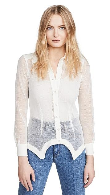 Fleur du Mal 真丝和网眼布轻薄拼接衬衫