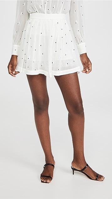 Fleur du Mal Embroidered Silk Georgette Skirt