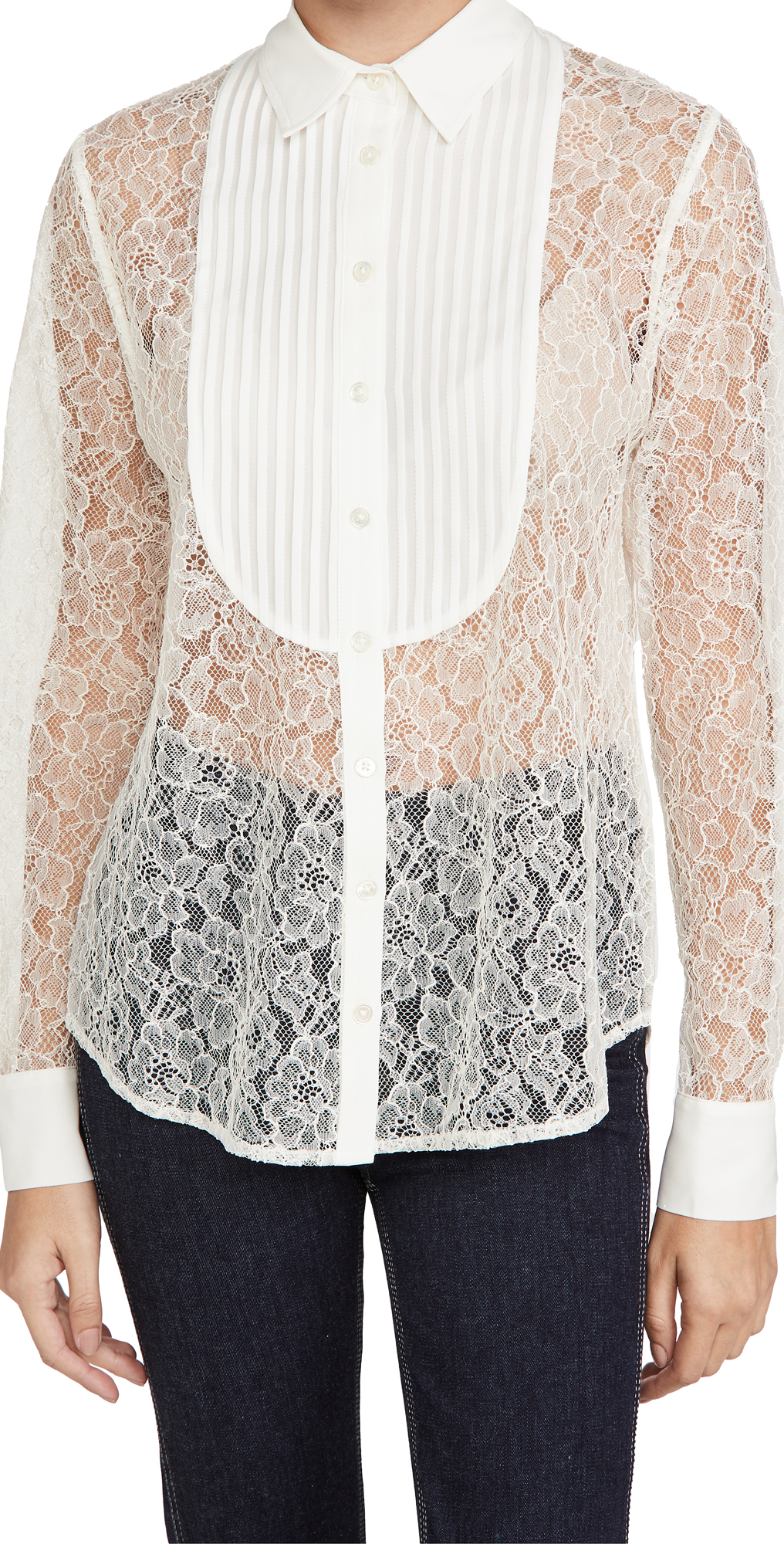 Fleur du Mal Lace Oversized Pintucked Shirt