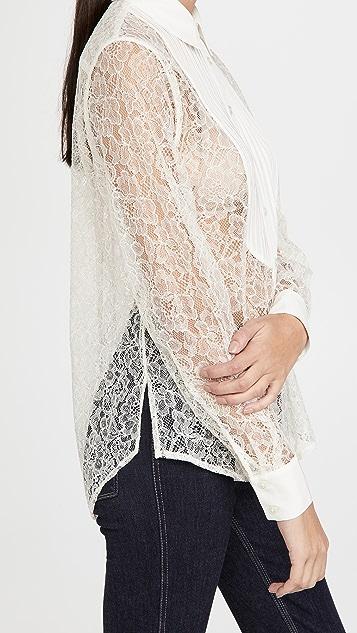 Fleur du Mal 蕾丝宽松针裥衬衫