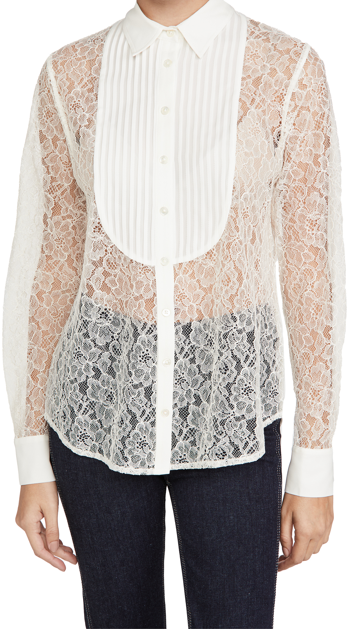 Fleur du Mal Lace Oversized Pintucked Shirt
