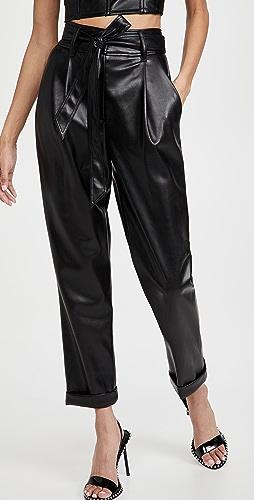 Fleur du Mal - Vegan Leather High Waist Belted Pants