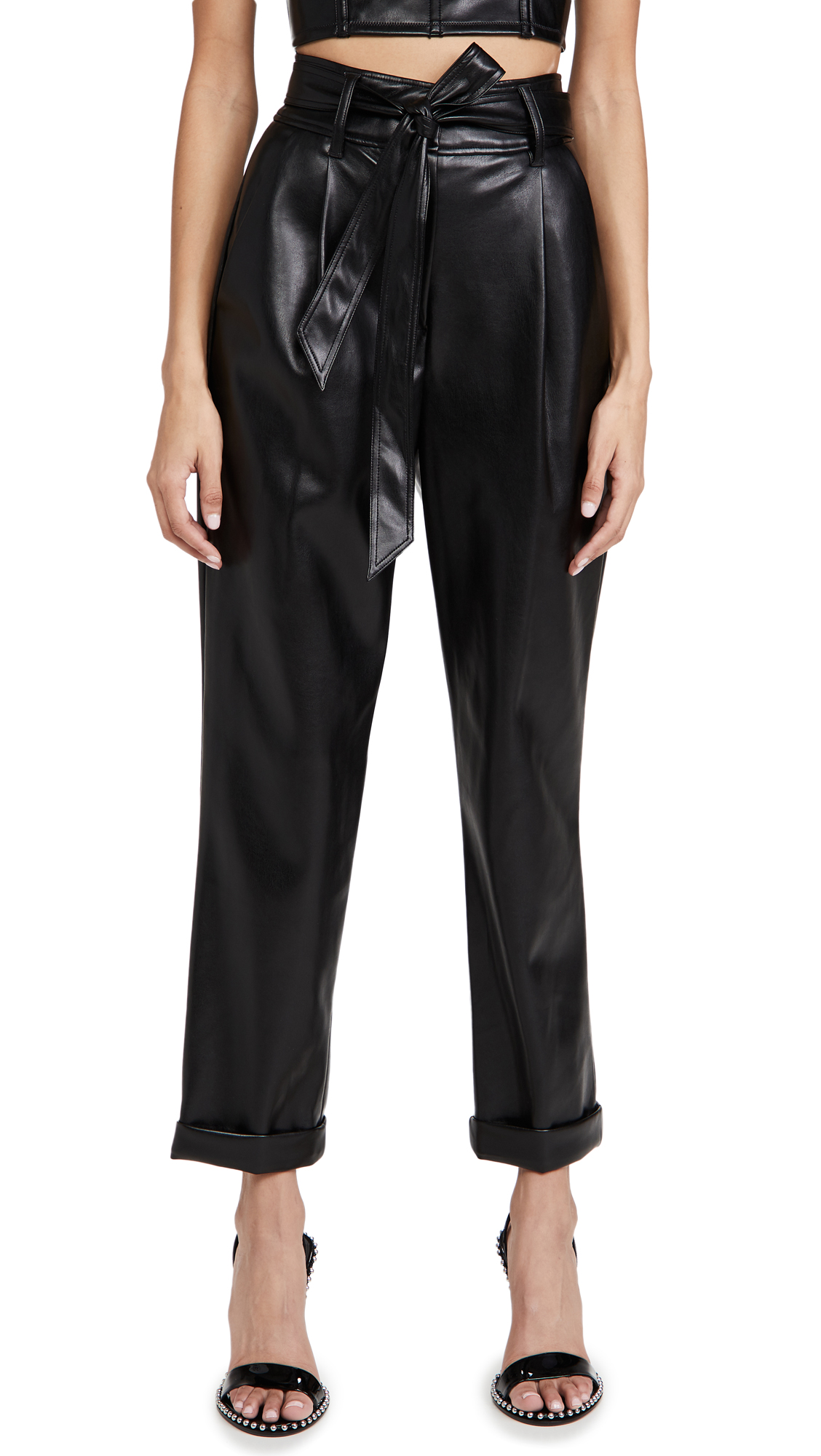 Fleur Du Mal Leathers VEGAN LEATHER HIGH WAIST BELTED PANTS
