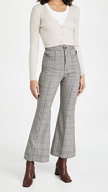 Fleur du Mal V Waist Flare Pants with Top Stitch