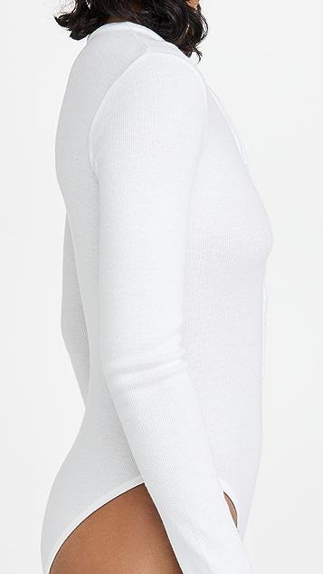 Fleur du Mal Henley Long Sleeve Bodysuit