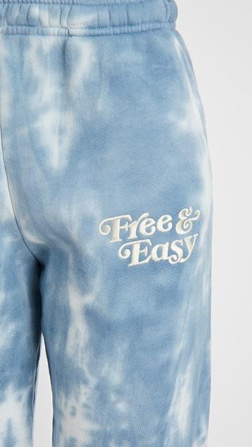 Free & Easy 扎染厚实抓绒运动裤