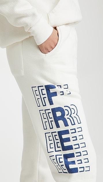 Free & Easy Peace 厚实绒布运动裤