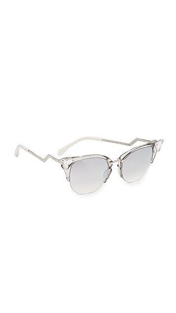 Fendi Iridia Crystal Corner Mirrored Sunglasses