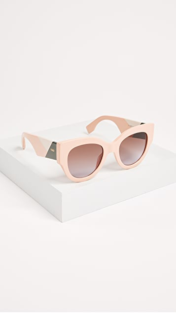Fendi Cat Eye Colorblock Sunglasses - Pink/Brown