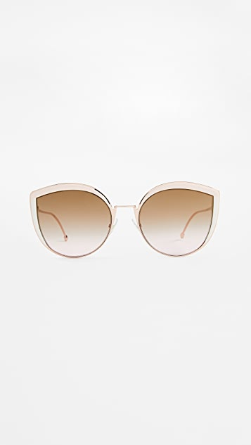 bb0751daa5a Fendi Round Slight Cat Eye Sunglasses