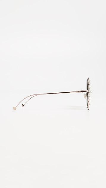 Fendi Солнцезащитные очки в округлой оправе с жемчугом