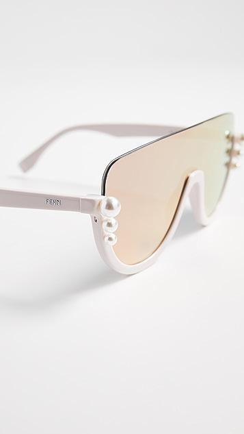 938ed8be8b1 ... Fendi Bottom Frame Imitation Pearl Sunglasses ...