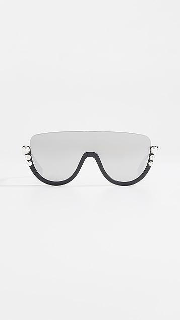 Fendi Bottom Frame Imitation Pearl Sunglasses - Black/Grey Blue