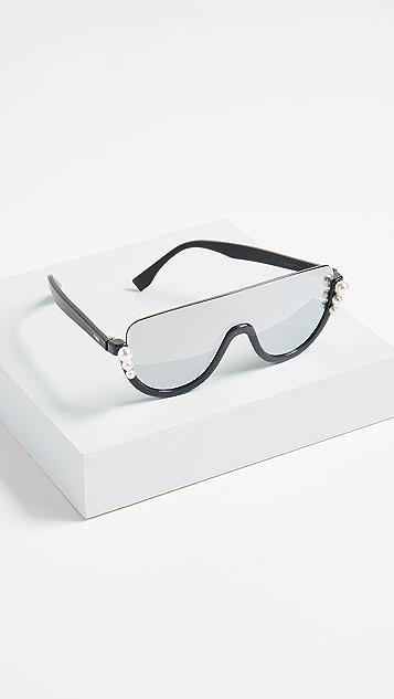 Fendi Bottom Frame Imitation Pearl Sunglasses