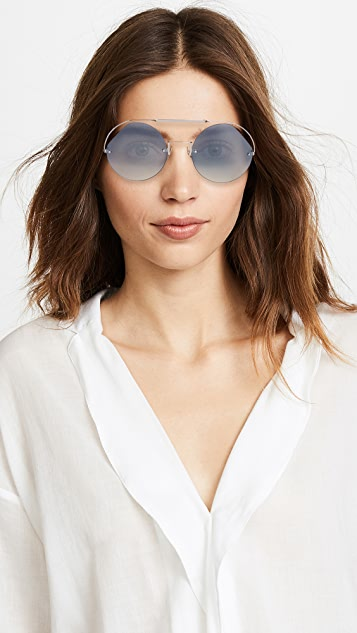 Fendi Cut Out Round Aviator Sunglasses