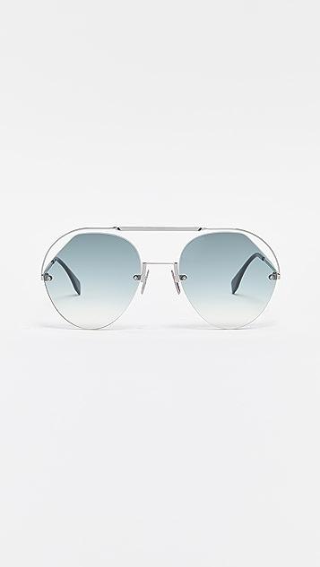 Fendi Cut Out Aviator Sunglasses