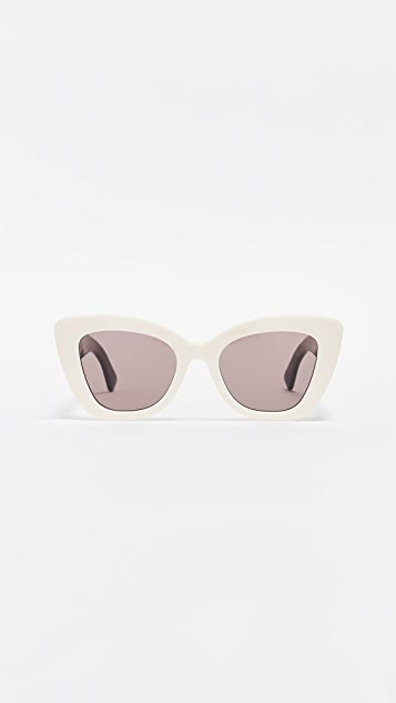 Fendi Narrow Cat Eye Logo Sunglasses