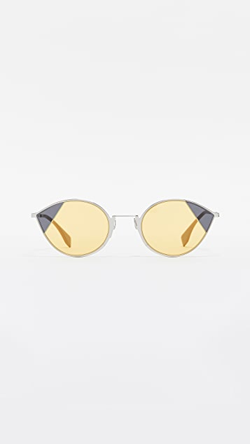 Fendi Narrow Color Block Cat Eye Sunglasses