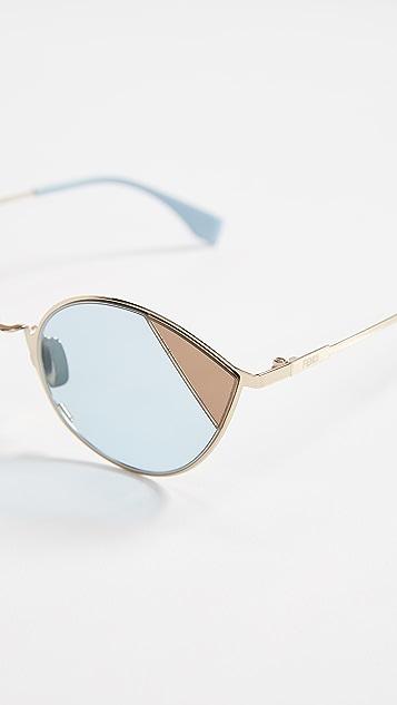 Fendi Narrow Cat Eye Color Block Sunglasses
