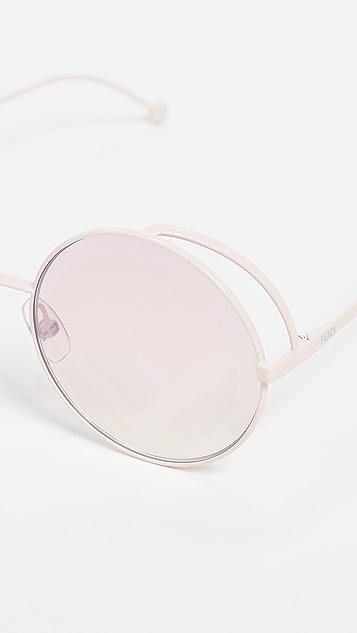 Fendi Round Metal Logo Sunglasses