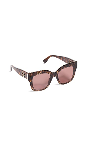 Fendi Logo Square Acetate Sunglasses