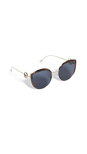 Fendi Солнцезащитные очки «кошачий глаз» с логотипом