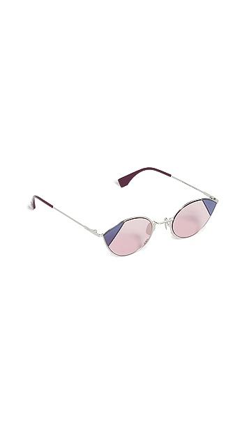 Fendi Солнцезащитные очки «кошачий глаз» в узкой оправе